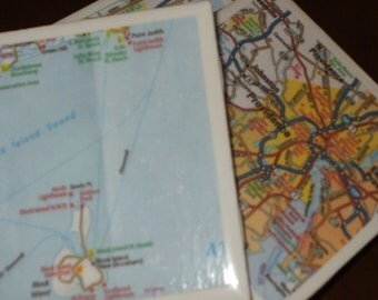 Rhode Island Map Coasters...Including Newport, Block Island, Providence...Set of 4...Full Cork Bottom NOT Felt