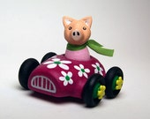 Miniature Toy Car with Removable Pig Driver - Pink Flower Car - Minicar