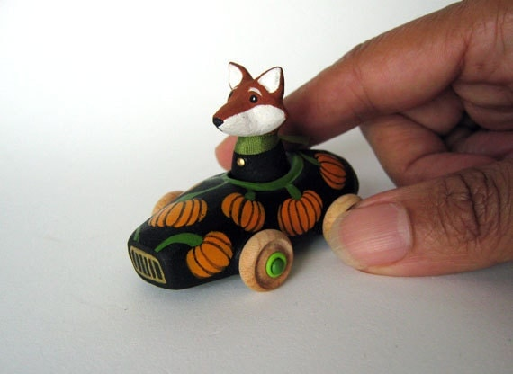 Pumpkin Car with Fox, Miniature Toy Auto, Autumn - Fall Colors, One-Of-A-Kind Toy, Seasonal Gift