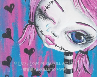Big Eye Mixed Media Art Giclee Print Signed Reproduction Crying Zombie by Lizzy Love [IMG#30]