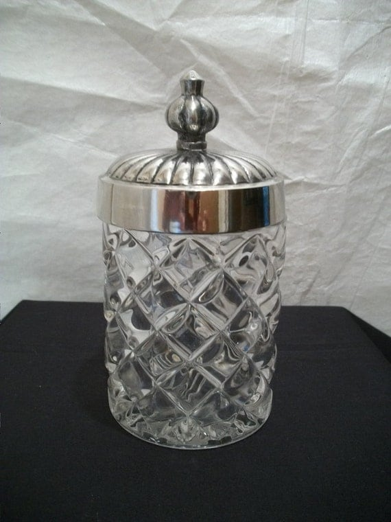 Vintage Crystal Cut Glass jar with metal Lid, Ornate Glass Container with Metal Lid, Heavy Glass Jar,