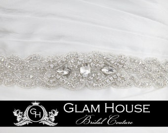 Sparkling Wedding Sash- Jeweled and Beaded
