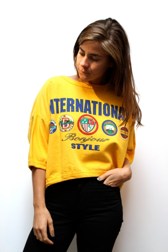 90s boxy YELLOW SLOUCHY twin peaks cropped t shirt SWEATSHIRT top