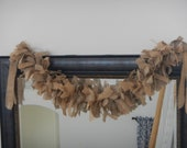 Burlap Garland, Natural and Tan Burlap Garland, Rustic, Shabby, Western, Country, Costal, Cottage, Farmhouse