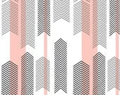 Fitted Crib Sheet- Blush, black, and white modern chevron - maxandgrace