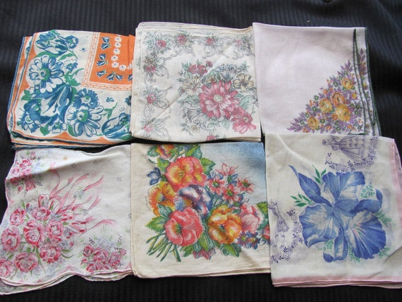 Lot of 6 Beautiful Floral Cotton Hankies
