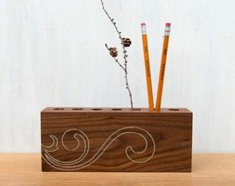 Modern Wood Desk Organizer - Ivory Scroll, 7 Hole, Black Walnut