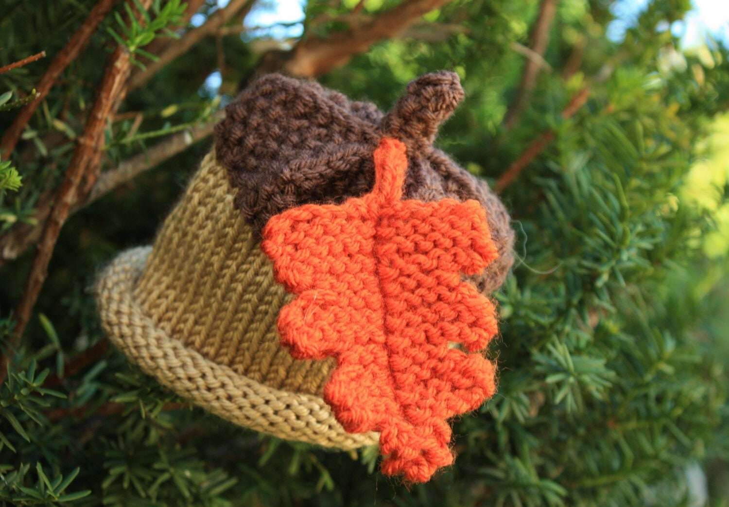 Knit Acorn Hat with Orange Leaf Baby Infant or Child Newborn