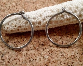 Delicate Thin Hammered Hoop Earrings in Sterling Silver Oxidized SRAJD