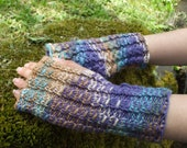 Knitted Fingerless Gloves Hand Warmers Arm Warmers - Evening Fades