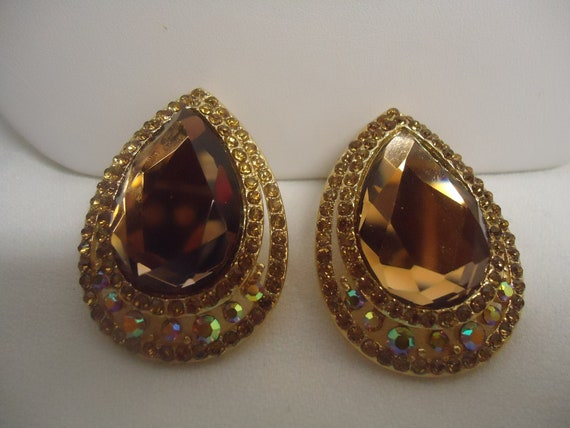 SALE Vintage Earrings Topaz Faceted Glass Aurora Borealis Rhinstone Earrings Jewelry