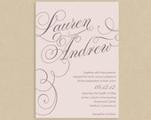 Printable Wedding Invitation 5x7 Calligraphic Names Soft Pink