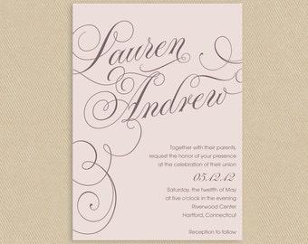 Printable Wedding Invitation 5x7 Calligraphic Names Soft Pink