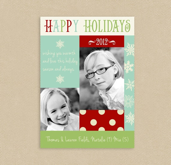 Sale! Holiday Photo Card Christmas 5x7 Modern Blocks & Snowflakes - Printable
