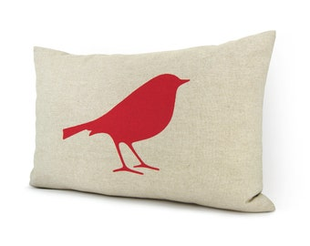 12x18 Bird Decorative Pillow Case, Cushion Cover - Red and Natural Beige Linen - Colorful Accent - Woodland Animal Print - Modern Home Decor