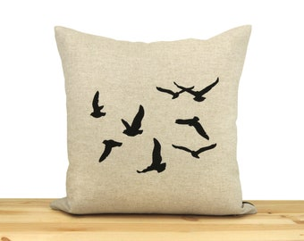 Bird decorative throw pillow case, cushion cover in 16x16 - greek key geometric accent - Flock of birds print in black & natural beige