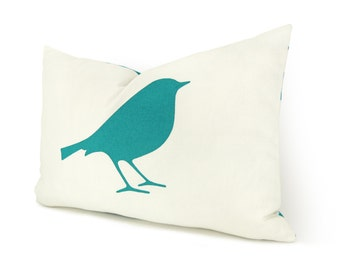 Bird Decorative Throw Pillow Cover in 12x18 inches | Turquoise, White and Ikat Pattern Back | Modern and Colorful Home Decor Accent