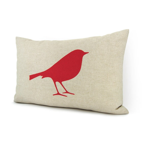 Decorative Pillow Cover 12x18 : 12x18 Bird Decorative Pillow Case Cushion Cover Red and