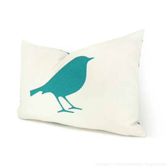 Items similar to Bird Decorative Throw Pillow Cover in 12x18 inches Turquoise, White and Ikat ...