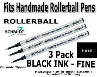 5888 F Black Color Ink Pern Refills 3 pack - Real Schmidt   Fine Point Ceramic Tipped Cartridges   Rollerball refill