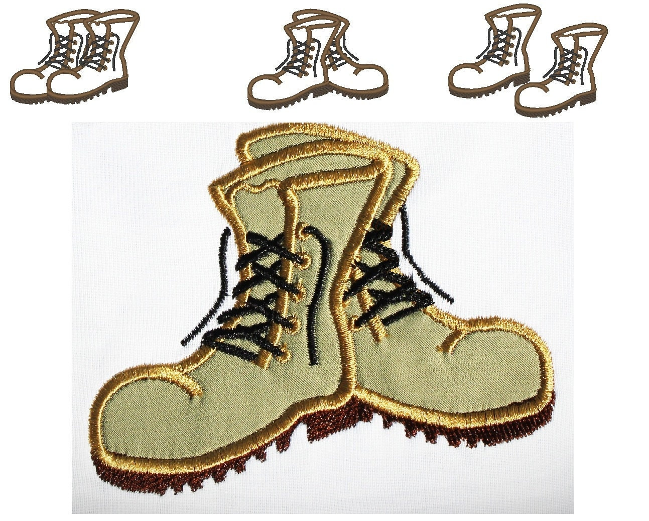Combat Boots 3 Types Instant Download Machine Embroidery