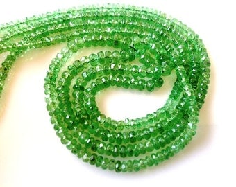 Full 14 Inches - 4-2mm - Natural Sparkling Transparent Fine Quality Tsavorite Faceted beads Strand