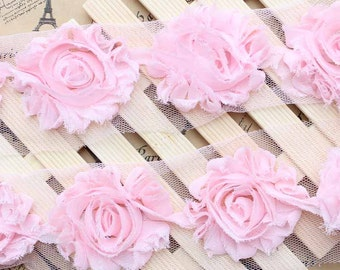 3D Shabby Rose Trim Light Pink Chiffon Flower Lace 2.36 Inches Wide1 Yard