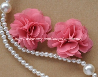 Pourpre Chiffon Flowers 2.36 Inches Wide For Costume Headware Corsage Supplies 2pcs