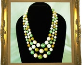 Vintage 3 Strand Choker Necklace Shades of Green and Gold