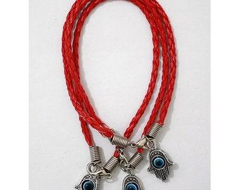 3 Evil Eye Hamsa Hand Lucky Charm Bracelets Red          with Rotating Eye