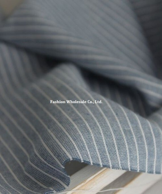 Half Yard - Japanese Linen Cotton Blended Fabric - Basic & Natural, Stripes on Blue