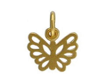 24Kt Gold Plated Sterling Silver 5x8mm Butterfly Charm - 1pc High Quality Shiny 30% Discounted (3871)/1