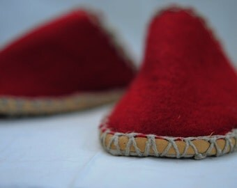 hand made, red felt slippers, eco friendly, natural
