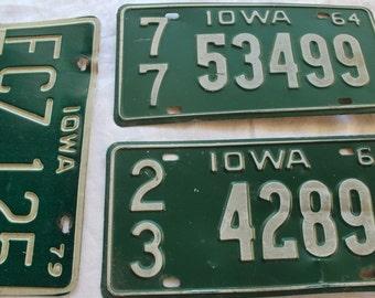 Vintage License Plate, Iowa License Plate, License Plate, Iowa. Personalized, 1964, 1977