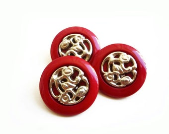 3 Vintage Buttons, Silver & Cherry Red Buttons