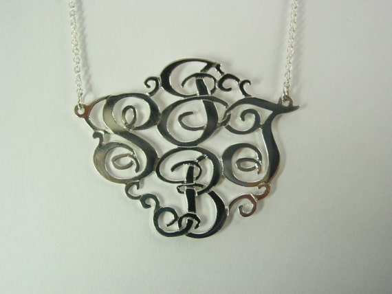 monogram necklace  1 5 size with 4 initials