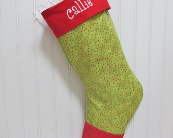 Green Christmas Stocking with free embroidery - red polka dots, toe, and cuff