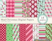 Mod Christmas digital paper 12x12, digital scrapbooking paper, royalty free- Instant Download