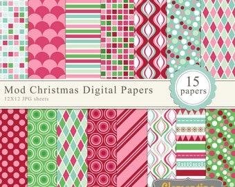 Mod Christmas digital paper 12x12, digital scrapbooking paper, royalty free- Instant Download