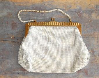 Vintage Beaded Purse, Whiting and Davis Handbag, Vintage White Purse, Great for Vintage Style Weddings, Spring Formal Purse, Mesh Bead Bag