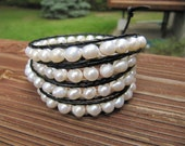 Black Leather and White Freshwater Pearl Beaded Leather Wrap Bracelet