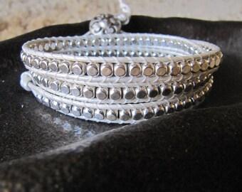 White Sterling Silver Triple Beaded Leather Wrap Bracelet