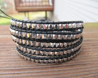 Silver Nugget 5 X Beaded Leather Wrap Bracelet - ON SALE