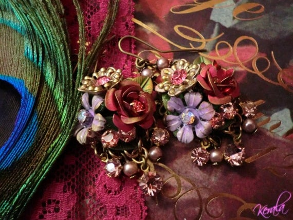 Custom LIsting for Jani - Hand-painted Flower Collage Earrings, Light Amethyst Swarovski Rhinestones and Mauve Pearl