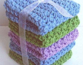 Crochet Dishcloths Washcloths - Set of 5 - Kitchen, Bathroom, Baby - Blue, Green, Purple - 100% Cotton