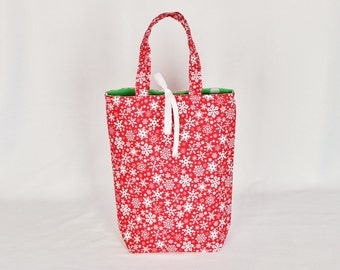 Fabric Gift Bag with Handles Medium - White Snowflakes on Red