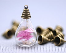 10 Lots  18x25mm  Transparent   Glass Wishing Bottle  Pendant  with Antiqued Bronze Color Caps