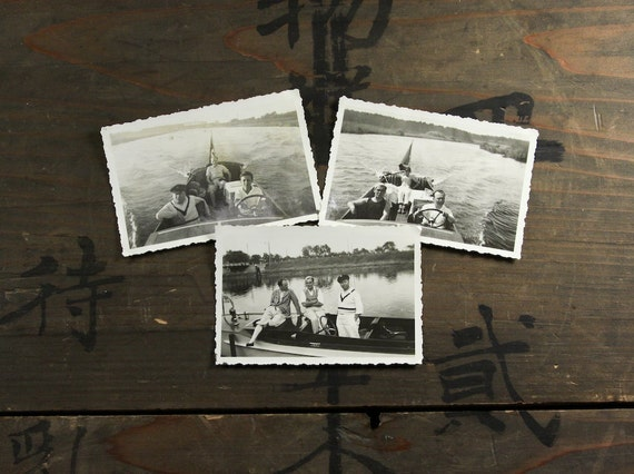 "3 Vintage Photos ""Boating with the Guys"", Photography, Paper Ephemera, Snapshot, Old Photo, Collectibles - 0015"