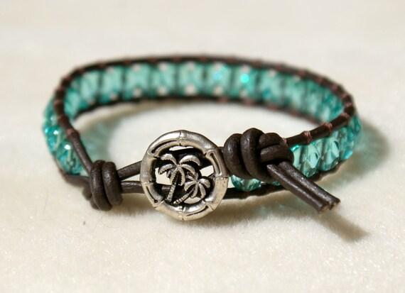 CUSTOM for Kelly - Aqua Bohemian beaded leather wrap bracelet, 1x, single Wrap, palm tree button