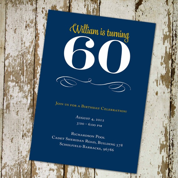 60th Birthday Color Ideas: 60th Birthday Invitation ANY COLOR Retirement Surprise Party